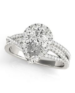 Engagement Ring - 14K White Gold - MultiRow - Pear & Trillion - Halo - Pear - Style 51022-E
