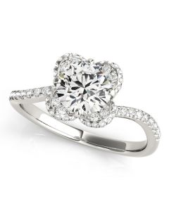 Engagement Ring - 14K White Gold - Bypass - Halo - Round - Style 51036-E