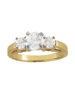 Engagement Ring - 14K Yellow Gold - 3 Stone - Round - Style 81882