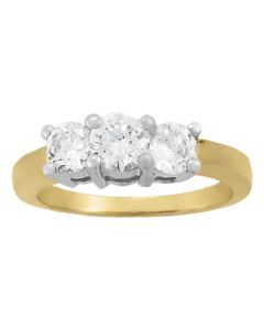 Engagement Ring - Two Tone - 3 Stone - Round - Style 81980