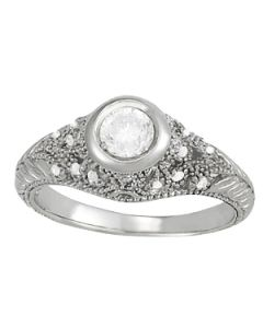 Engagement Ring - 14K White Gold - Antique - Style 82623