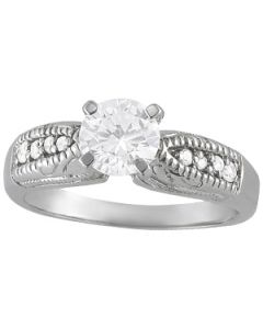 Engagement Ring - 14K White Gold - Antique - Style 82672