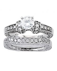 Wedding Ring - 14K White Gold - Curved Bands - Style 82675-W