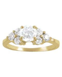 Engagement Ring - 14K Yellow Gold - Cluster Sides - Cluster - Style 82751