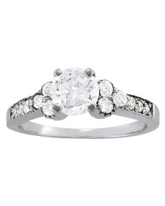 Engagement Ring - 14K White Gold - Cluster Sides - Cluster - Style 82773