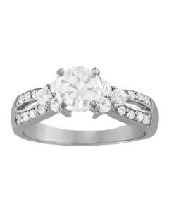 Engagement Ring - 14K White Gold - MultiRow - Style 82777