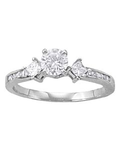 Engagement Ring - 14K White Gold - Cluster Sides - Cluster - Style 82845