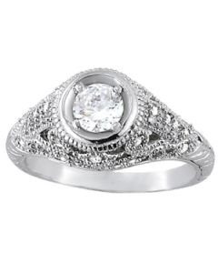 Engagement Ring - 14K White Gold - Antique - Style 82885