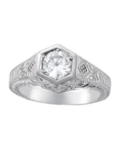 Engagement Ring - 14K White Gold - Antique - Style 82968