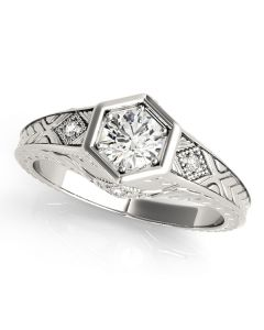 Engagement Ring - 14K White Gold - Antique - Style 83377