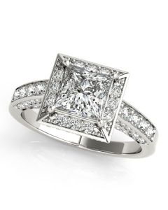 Engagement Ring - 14K White Gold - Color - Halo - Princess - Cushion - Square - Square & Cushion - Style 83501