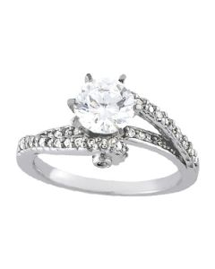 Engagement Ring - 14K White Gold - Bypass - Style 83629