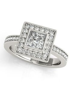 Engagement Ring - 14K White Gold - Color - Halo - Princess - Cushion - Square - Square & Cushion - Style 83651