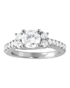 Engagement Ring - 14K White Gold - Cluster Sides - Cluster - Style 83863