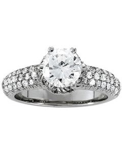Engagement Ring - 14K White Gold - Pave - Style 84043