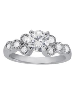 Engagement Ring - 14K White Gold - Cluster Sides - Cluster - Style 84256