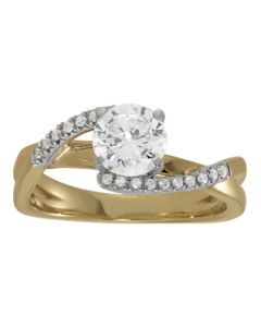 Engagement Ring - 14K White Gold - Bypass - Style 84291