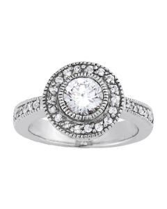 Engagement Ring - 14K White Gold - Color - Halo - Round - Style 84465