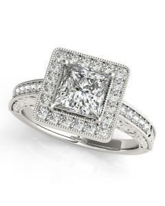 Engagement Ring - 14K White Gold - Color - Halo - Princess - Cushion - Square - Square & Cushion - Style 84510