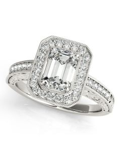 Engagement Ring - 14K White Gold - Color - Halo - Emerald - Style 84511