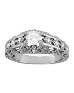 Engagement Ring - 14K White Gold - Antique - Style 84517