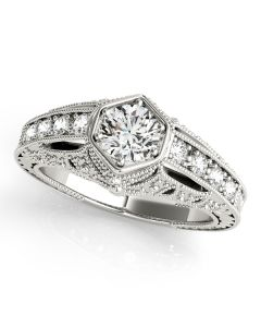 Engagement Ring - 14K White Gold - Antique - Style 84519