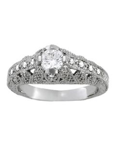 Engagement Ring - 14K White Gold - Antique - Style 84524