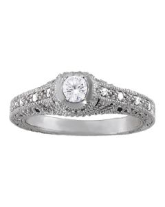 Engagement Ring - 14K White Gold - Antique - Style 84538