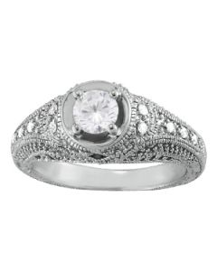 Engagement Ring - 14K White Gold - Antique - Style 84545