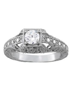 Engagement Ring - 14K White Gold - Antique - Style 84546
