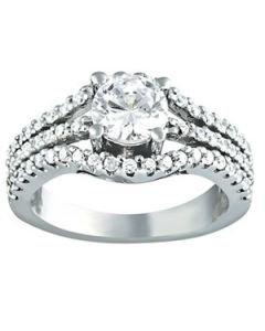 Engagement Ring - 14K White Gold - MultiRow - Style 84627