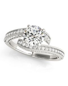 Engagement Ring - 14K White Gold - Bypass - Style 84693