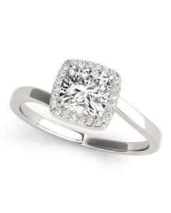 Engagement Ring - 14K White Gold - Bypass - Halo - Cushion - Square - Square & Cushion - Style 84764