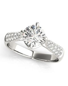 Engagement Ring - 14K White Gold - Pave - Style 84894