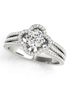 Engagement Ring - 14K White Gold - MultiRow - Halo - Round - Style 84903
